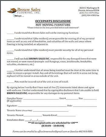 Occupant Disclosure-Not Moving Furniture Form